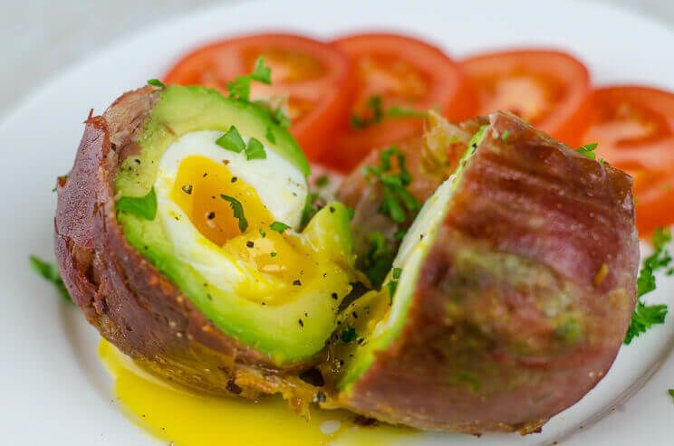 Bacon Wrapped Avocado Egg