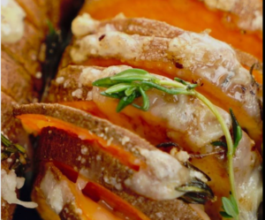 Cheesy Hasselback Sweet Potatoes