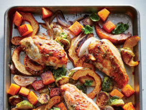 Maple Mustard Roasted Chicken and Brussels Sprouts with Squash
